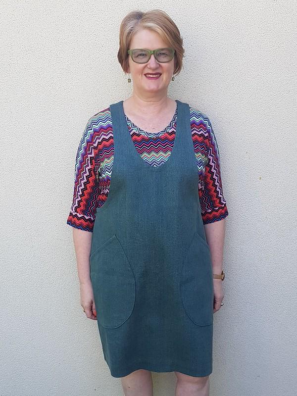 Helens Closet York Pinafore in denim from Super Cheap Fabrics over Olivia Oversized Tee