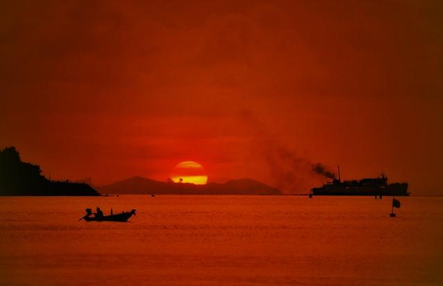 Sun setting over Nikki Beach