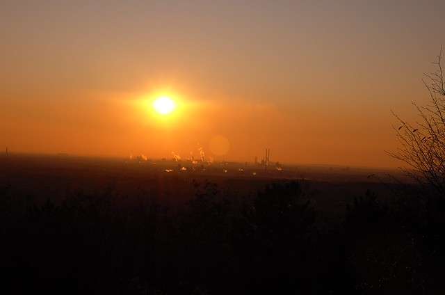 The sun goes down over the Ruhr Valley