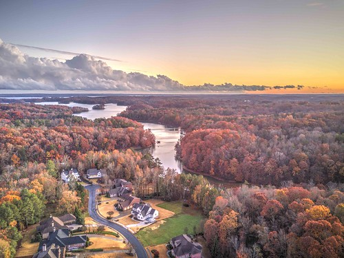 ronmayhew djimavicpro aerial sunset clouds storm lakelanier trees fall sky nature