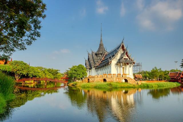 Replica of Sanphet Prasat Palace in Muang Boran (Ancient City) in Samut Phrakan, Thailand