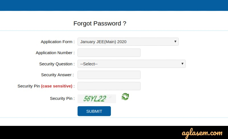 Recover password for JEE Main 2020