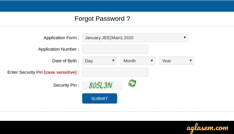 Forgot password for JEE