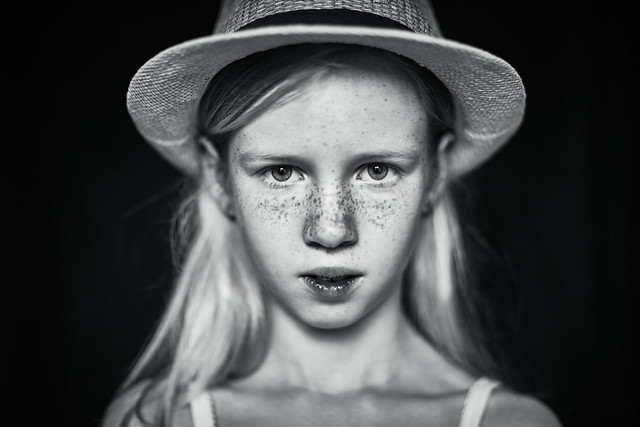 Girl with hat (B&W edit)