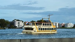 A ferry across the Amsterdam IJ river
