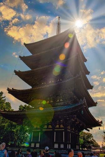 architecture japan kōfukuji nara shawnharquail summer sunset travel building lensflare monument outdoor shawnharquailcom sunstar