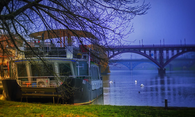 The River Queen and three bridges