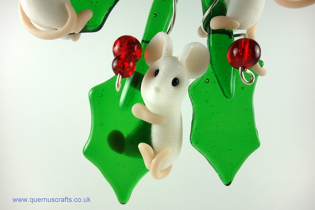 Four Little Mice on Glass Holly