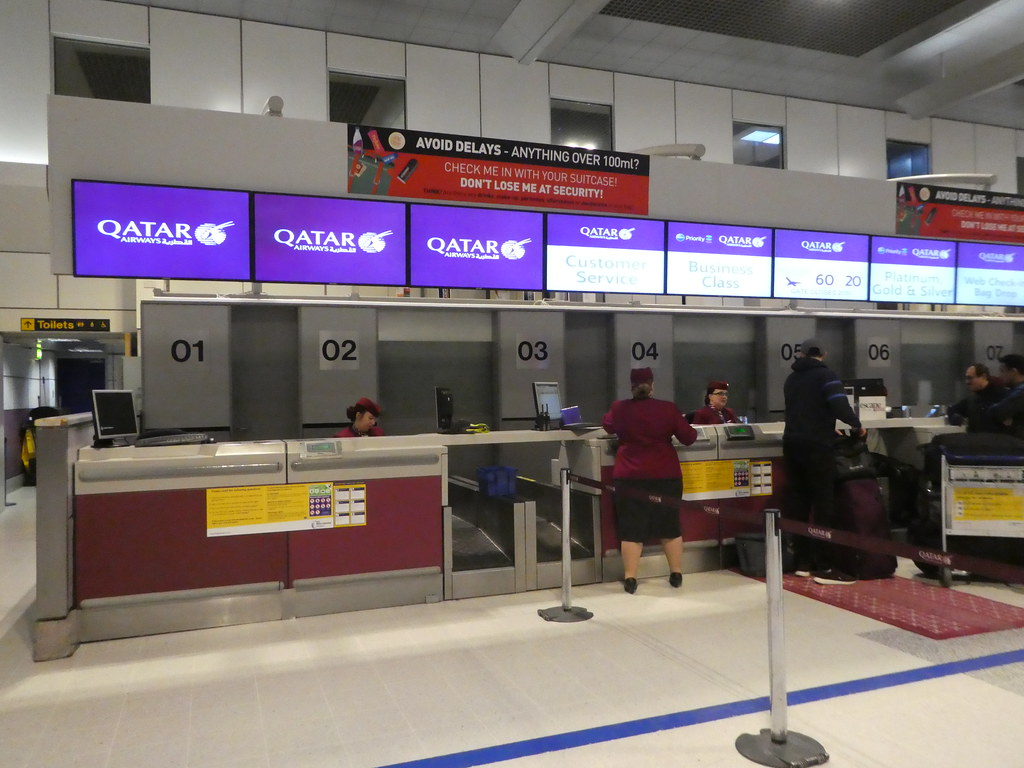 Qatar Airways check-in at Manchester Airport