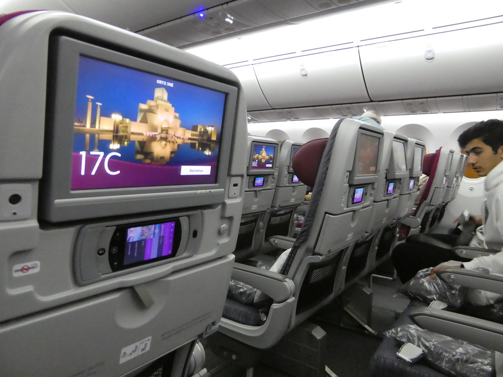 Settling in to our seats on the Qatar Airways Dreamliner 787-8 aircraft