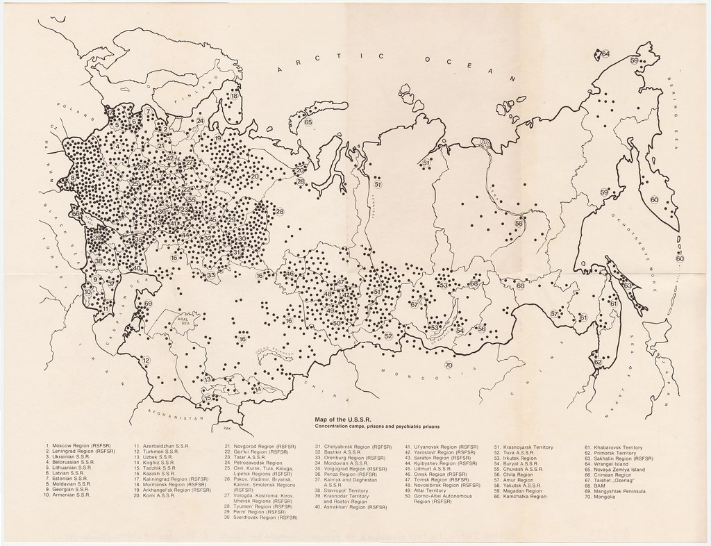 Map of USSR Concentration camps