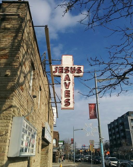 """Jesus Saves"" #toronto #stclairavenue #earlscourt #cross #jesus #faithimpactministry #sunday #fall #autumn"