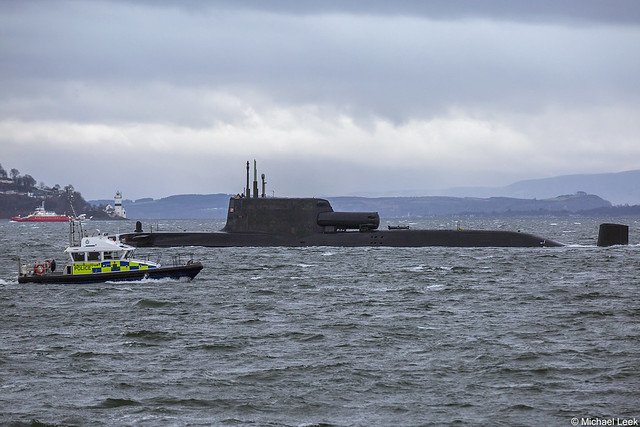 Royal Navy nuclear attack submarine HMS Artful, S121 (SSN); Firth of Clyde, Scotland