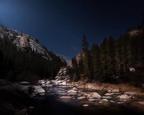 florissant colorado unitedstatesofamerica longexposure rockymountains 11milecanyon river stream landscape moon moonlight moonlit moonscape nightphotography nighttime