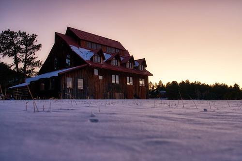 alderfer ranch three sisters evergreen barn sunset snow