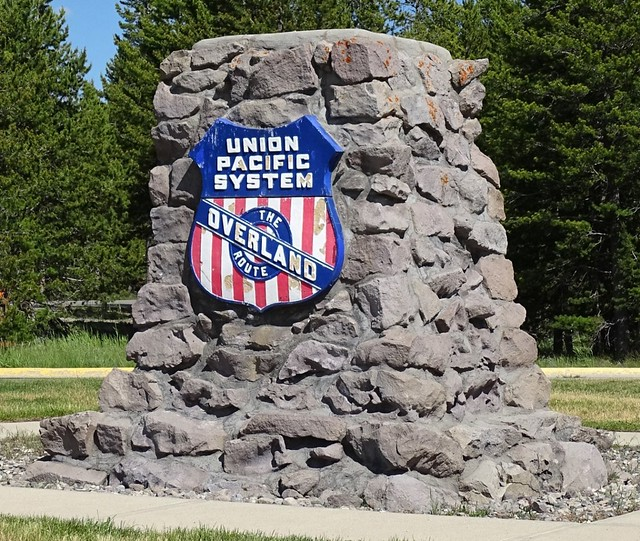 MT, West Yellowstone-Union Pacific Pylon Marker