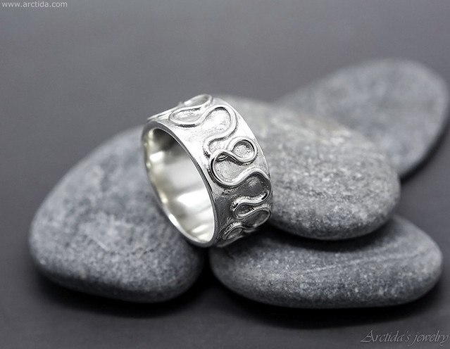 Argentium sterling silver wide ring band with abstract Celtic inspired pattern