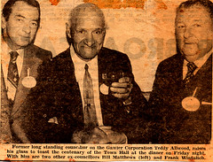 Teddy Allwood at Town Hall centenary dinner (1978?)