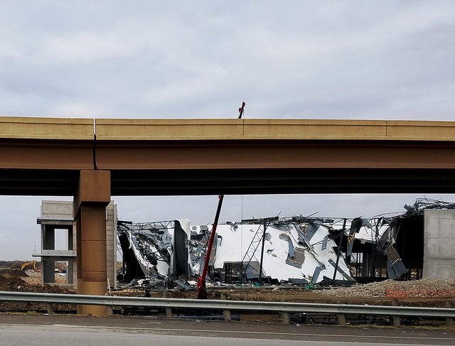 Building wrecked by a tornado near Dallas, Texas