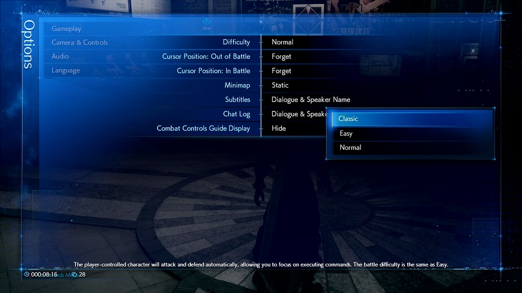 Final Fantasy VII Remake Classic Mode menu