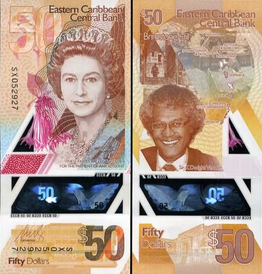 50 Dolárov Východný Karibik 2019 P58, polymer