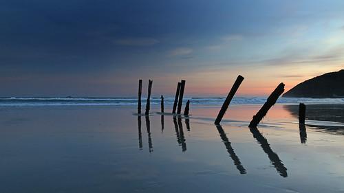 landscape coastal otago stclairbeach dunedin sunset piles