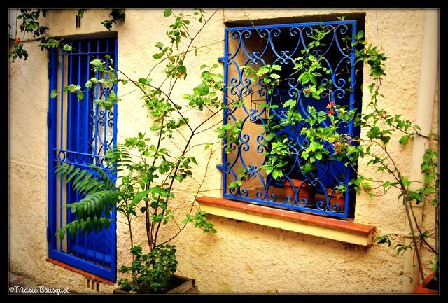 Maison avec porte et fenêtre en fer forgé bleu