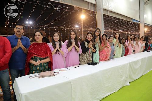 Devotees seeking blessings in offices
