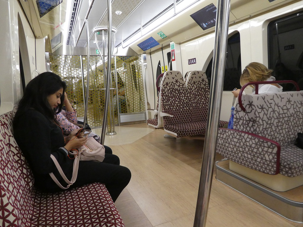 Travelling on board the Doha Metro