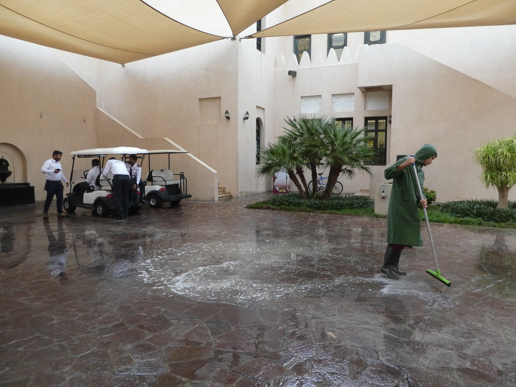 Heavy rain causing localised flooding in the Katara Cultural Village, Doha