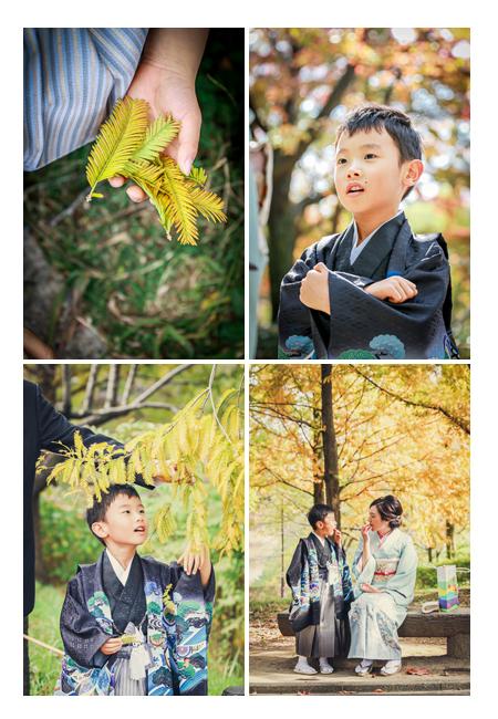 七五三のロケーション撮影 晩秋の公園 紅葉