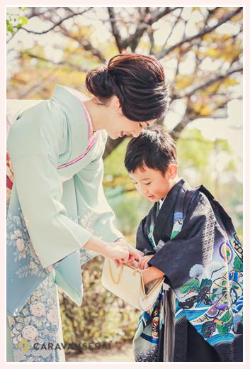 七五三のロケーション撮影 ママと5歳の男の子 和装