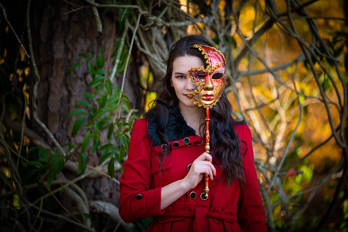 lady red fall autumn november portrait design art mask