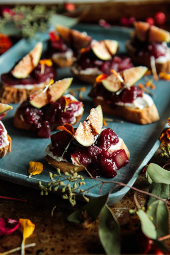 Cranberry caramelized Onion Crostini (Vegan and Gluten-free) from heatherchristo.com | by Heather Christo