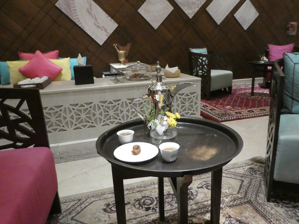 Arabic coffee and dates in the hotel lounge, Souq Waqif Boutique Hotel, Doha