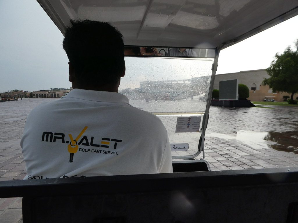 Taking the golf cart to the Katara Cultural Village, Doha