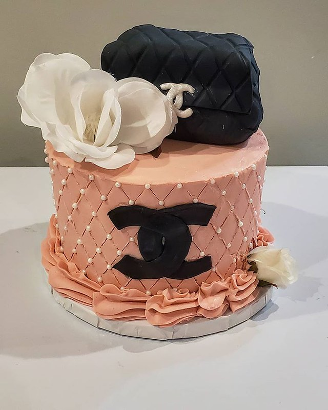 Chanel Birthday Cake with an Edible Purse on Top from Simply Baked by Sierra