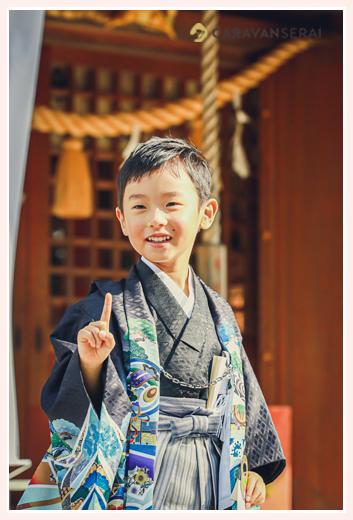七五三 5歳の男の子 黒の羽織袴 年賀状用