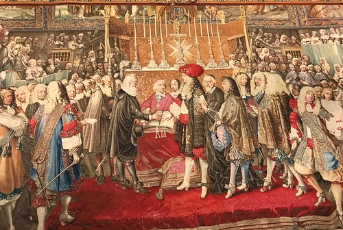 Wool and silk Tapestry depicting signing of agreement in Norte Dame in Parispeg. From History Comes Alive at Zurich's National Museum and Haus Hiltl
