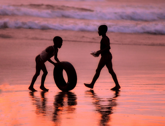 Beach silhouette of children, at sunset!