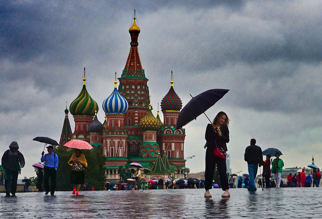 Russia, Moscow - Rainy day over the Red Square - September 2018