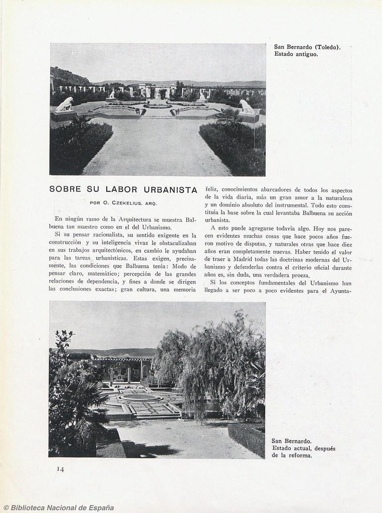 Artículo de O. Czekelius sobre la reforma realizada por Balbuena en el monasterio de San Bernardo o de Montesión y sus jardines. Biblioteca Nacional de España.