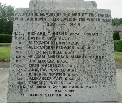 Scone War Memorial, World War 2 Dedication