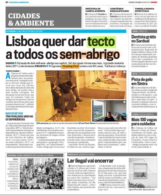 Rogério Chambel, «Lisboa quer dar tecto a todos os sem-abrigo», Correio da Manhã, 25/XI/19