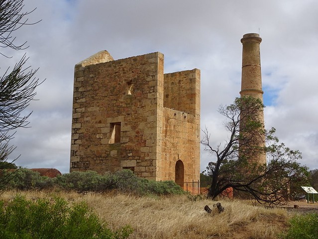 Moona Mines  copper mining site. Hughes Enginehouse built 1865 and the Hughes Boiler House and chimney built 1865. Nearby the Hughes, Elder and Barr Smith shafts. Three boilers imported from Cornwall.
