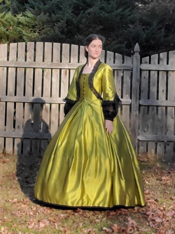 Dinner bodice Chartreuse dress