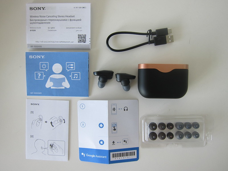 Sony WF-1000XM3 Earbuds - Box Contents