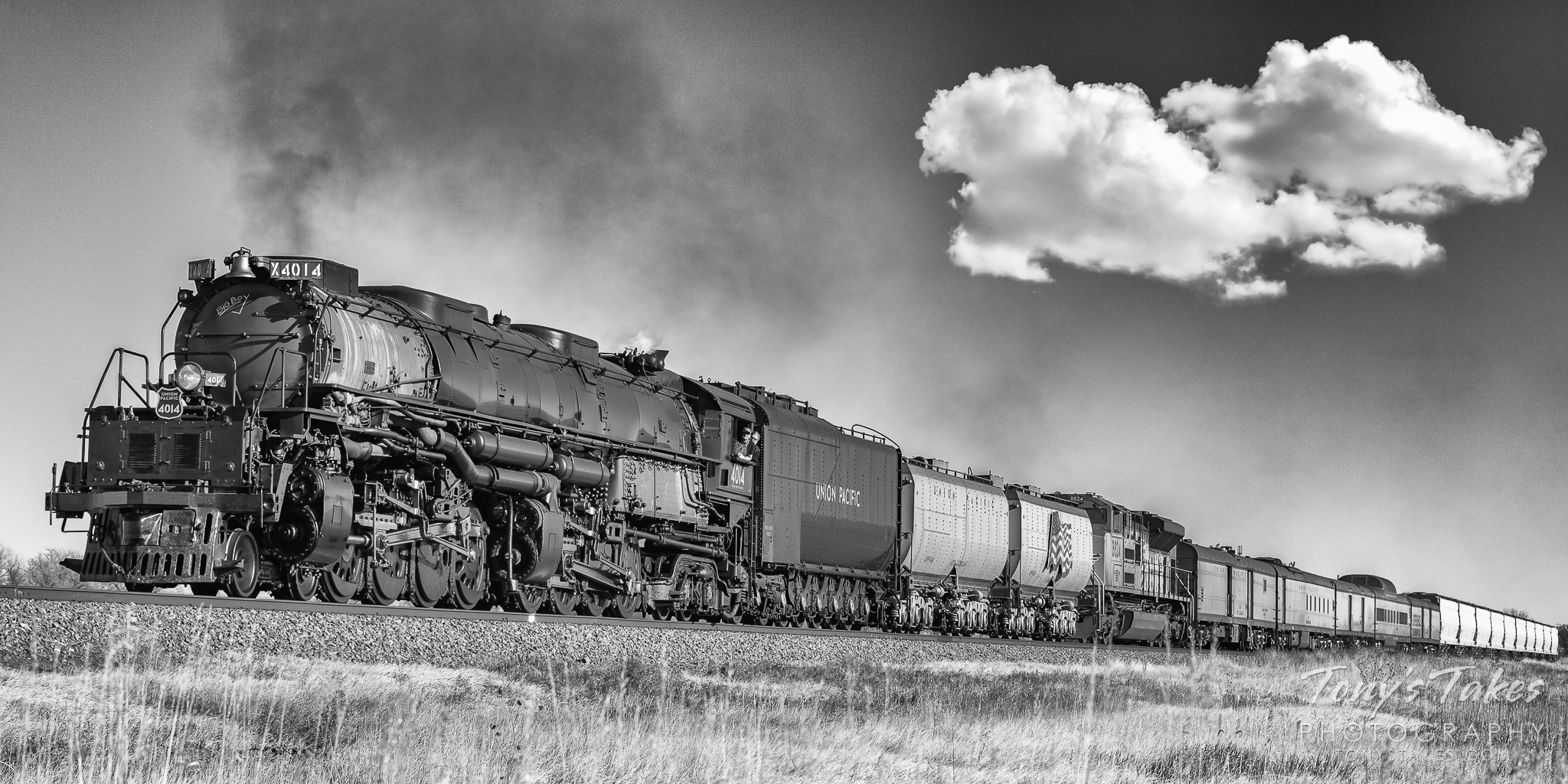Union Pacific's Big Boy #4014 rolls across the Colorado plains. (© Tony's Takes)