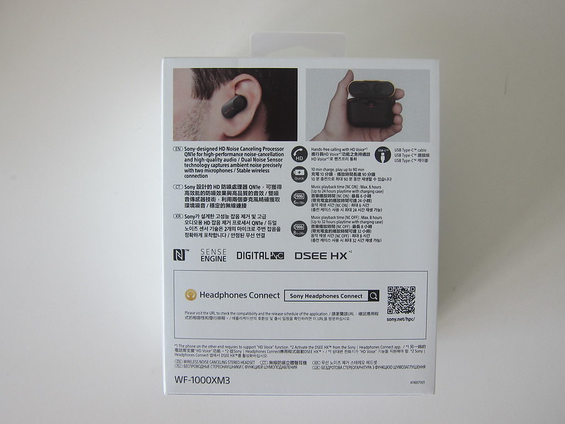 Sony WF-1000XM3 Earbuds - Box Back