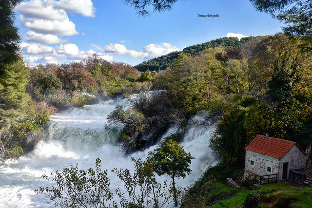 Wild Krka waterfalls after rain